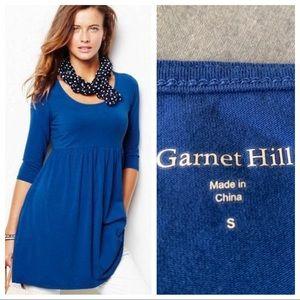 Garnet Hill Scoop Neck Tunic Top Cobalt Blue Small